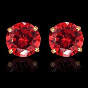 14K Yellow 8mm Ruby Stud Earrings